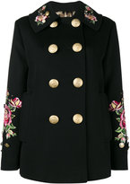 Dolce & Gabbana rose embroidered military coat