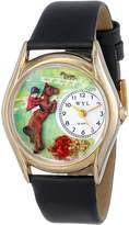 Whimsical Watches Kids' C0810001 Classic Horse Competition Black Leather And tone Watch