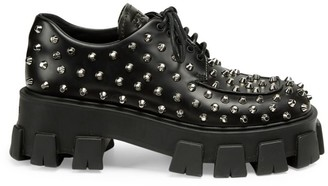 Prada Lug-Sole Studded Leather Creepers