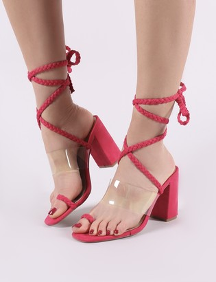 Public Desire Mia Lace Up Block Heeled Sandals in Fuchsia Faux Suede