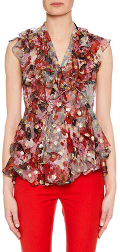 Alexander McQueen Sleeveless Feather Fil-Coupe Ruffled Blouse