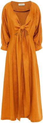 Nicholas Asilah Tie-front Linen Midi Dress