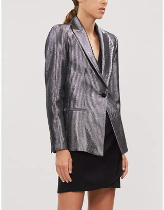Maje Single-breasted metallic-woven jacket