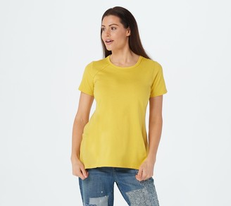 LOGO by Lori Goldstein Cotton Modal Top with Rib Knit Panels