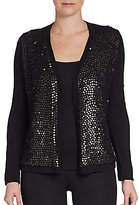 Elie Tahari Embellished Merino Wool Sweater