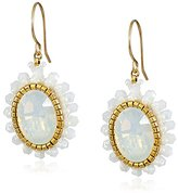Miguel Ases Opalite Quartz Small Button Drop Earrings