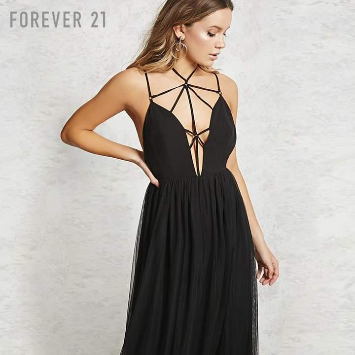 Forever 21 (フォーエバー 21) - Forever 21 ケージストラップチュールレイヤードマキシワンピース