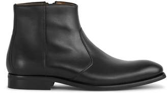 Reiss Archie - Leather Zip Up Boots in Black