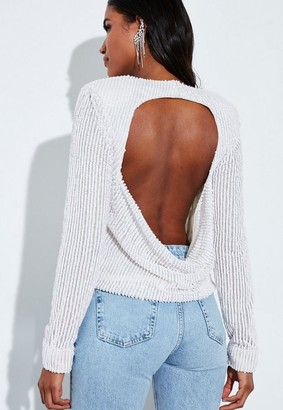 Missguided White Sequin Embellished Cut Out Drape Back Top