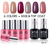 Perfect Summer UV/LED Soak Off Gel Nail Polish, Classic Pastel Colors Gift Set with Clear Base Coat and Top Coat - Pack of 8, 8ml Each (Starter Kit #15)