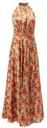 Raquel Diniz Giovanna Floral-print Silk Dress - Womens - Nude Multi