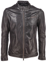 Dondup Band Collar Leather Jacket