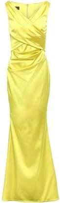 Talbot Runhof Wrap-effect Gathered Duchesse-satin Gown