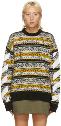 Off-White Yellow Fair Isle Agreement Sweater