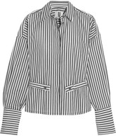 Topshop Tiller Oversized Striped Cotton Shirt - White