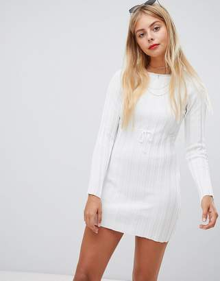 Emory Park long sleeve dress in skinny rib knit-White