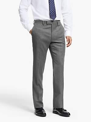 John Lewis & Partners Wool Pinstripe Slim Fit Suit Trousers, Grey