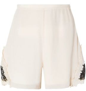 See by Chloe Guipure Lace-trimmed Crepe De Chine Shorts