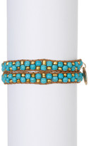 Natasha Accessories Metal & Stone Bead Woven Cord Wrap Bracelet