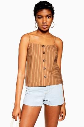 Topshop Womens Brown Stripe Button Bow Cami - Tobacco