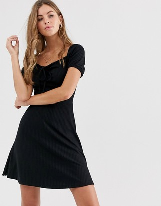 New Look jersey square neck dress in black