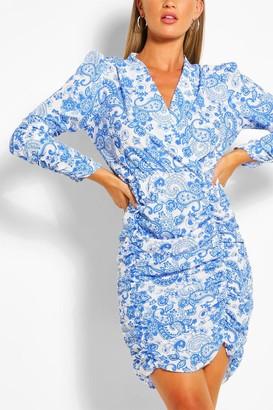 boohoo Wrap Front Long Sleeve Porcelain Print Midi Dress