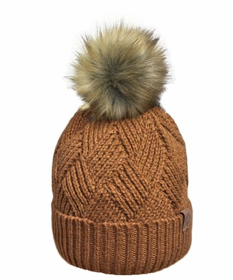 RockJock Ladies Warm Chunky Diamond Cable Knit Hat with Thermal Teddy Fleece Lining and Detachable Faux Fur Pompom-Chestnut