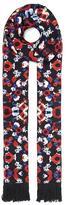 Lily & Lionel Poppy Print Skinny Fringed Silk Scarf