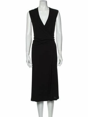 Hermes V-Neck Midi Length Dress Black