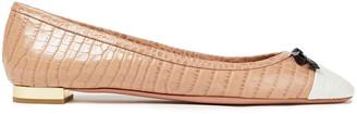 Aquazzura Moss Color-block Croc-effect Leather Ballet Flats