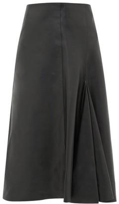 Joseph Barb Flared Leather Midi Skirt - Womens - Black