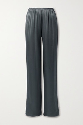 Sally LaPointe Duchesse-satin Wide-leg Pants - Charcoal
