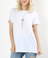 White Relaxed-Fit Boatneck Tee