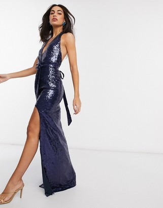 Goddiva wrap halterneck sequin maxi dress in navy