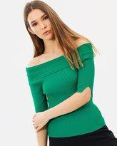 Karen Millen Short Sleeve Bardot Knit Top