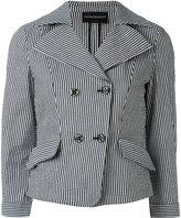 Emporio Armani striped blazer - women - Cotton/Linen/Flax/Polyamide/Spandex/Elastane - 42