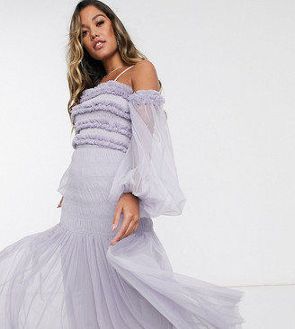 Bardot Lace & Beads ruffle maxi dress with sheer balloon sleeves in lilac gray
