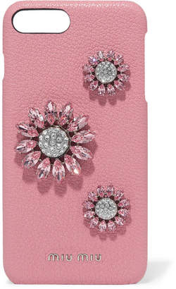 Miu Miu Crystal-embellished Textured-leather Iphone 8 Plus Case - Pink
