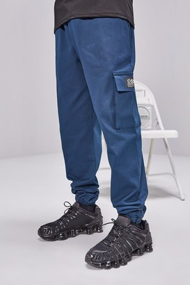 boohoo Mens Green Cargo Trousers With Woven Tab Detail, Green