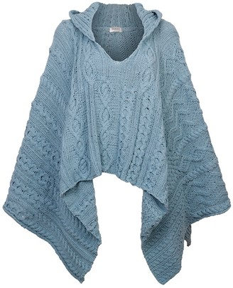 Zut London Hand Knitted Cable Hooded Poncho - Duck Egg Blue