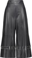 Tibi Eyelet-embellished leather culottes