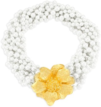 Kenneth Jay Lane Faux-Pearl Twisted Multi-Strand Flower Necklace