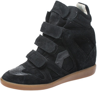 Isabel Marant Black Suede And Leather Trim Bekett Wedge Sneakers Size 37