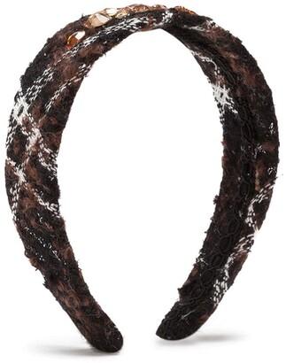 Dolce & Gabbana Kids Check Tartan Embellished Headband