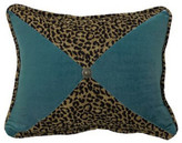 Hiend Accents Leopard And Teal Sectioned Pillow With Conch Detail