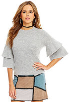 Gianni Bini Lola Crew Neck Ruffle Tiered Sleeve Sweater