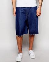 Asos Denim Shorts In Wide Leg