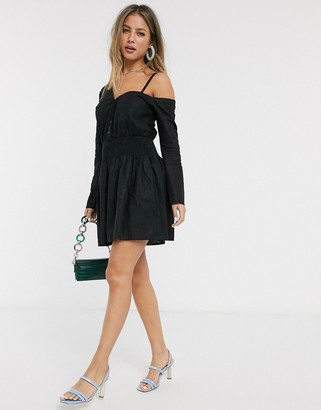 Asos DESIGN off shoulder linen mini shirt dress with shirred waist in black