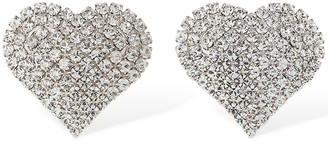 Alessandra Rich Small Crystal Heart Clip-on Earrings