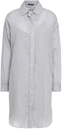 James Perse Striped Cotton-blend Mini Shirt Dress